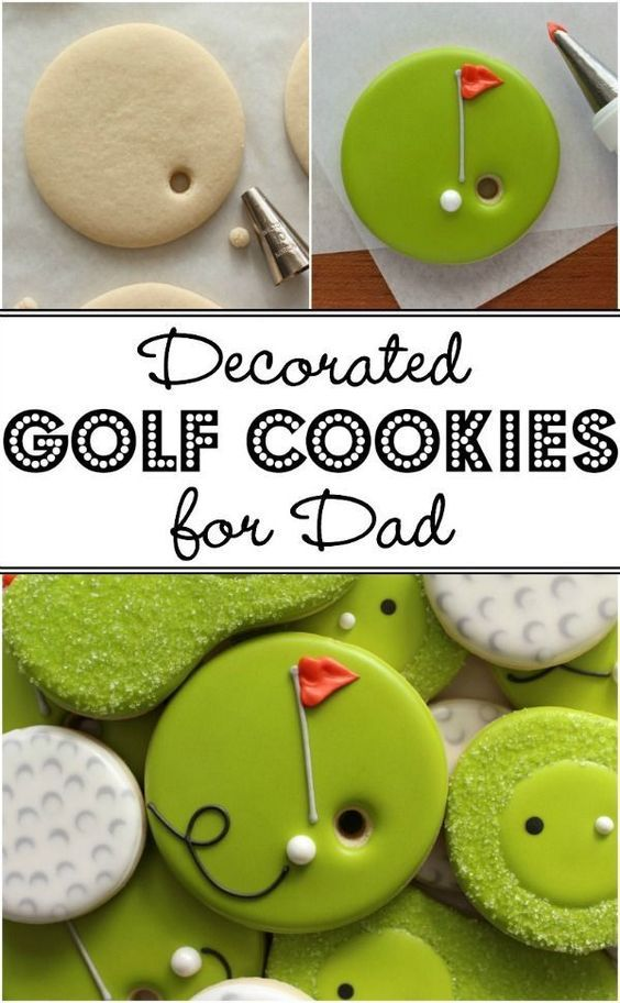 How to make cute and easy decorated Golf Cookies for Father's Day