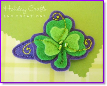 St Pat ♥ http://felting.craftgossip.com/2014/02/21/felt-shamrock-bracelet-shamrock-barrette-tutorials/