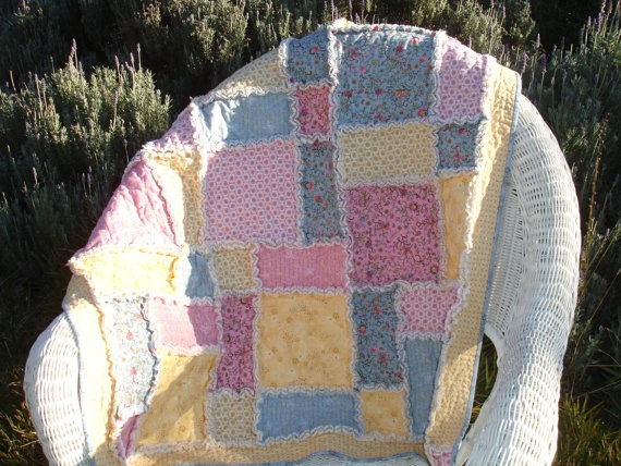 Shaggy Rag Quilt  Lap Throw  Blue Pink Yellow by KeriQuilts, $110.00