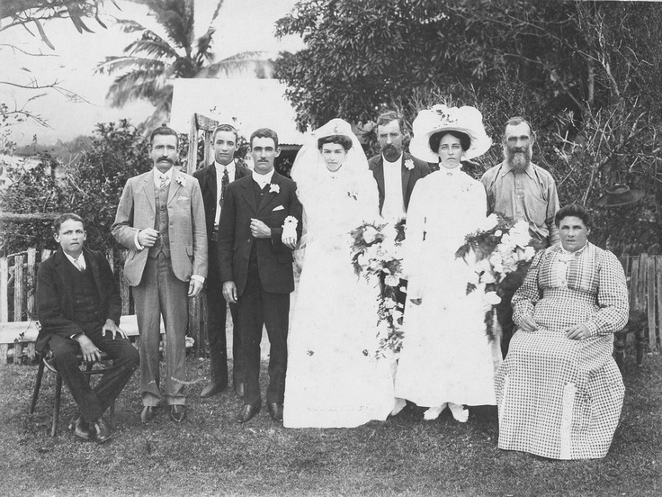 """30th May 1912 The Wedding of William Stewart LESLIE to Elizabeth Jane """"Janey"""" RUSSELL, at Cooktown. (Note the hat in the tree!)"""