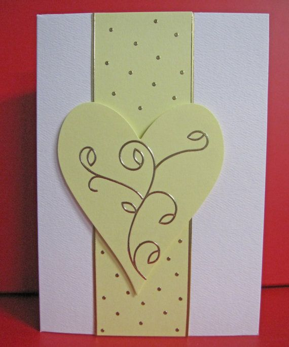 Handmade Card Any Occasion with Yellow Heart