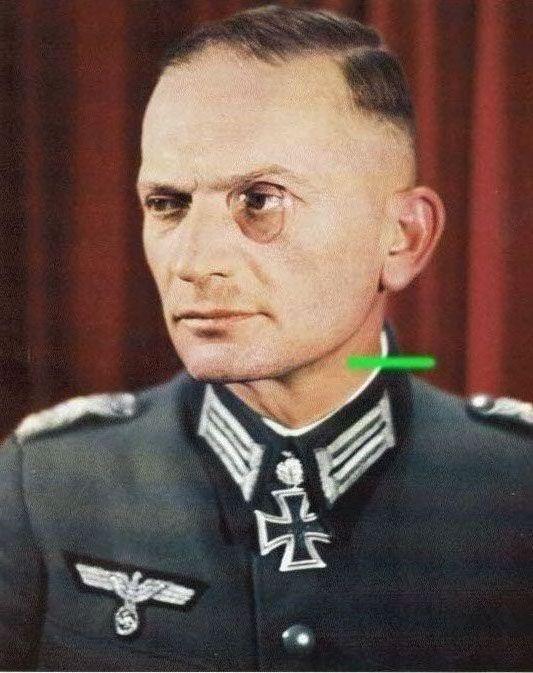 Oberstleutnant der Reserve Albert Graf von der Goltz wearing monocle after receiving Eichenlaub #316 as Kommandeur of Gebirgsjäger-Regiment 144. Eichenlaubträger, Heer Oberst, Ritterkreuzträger