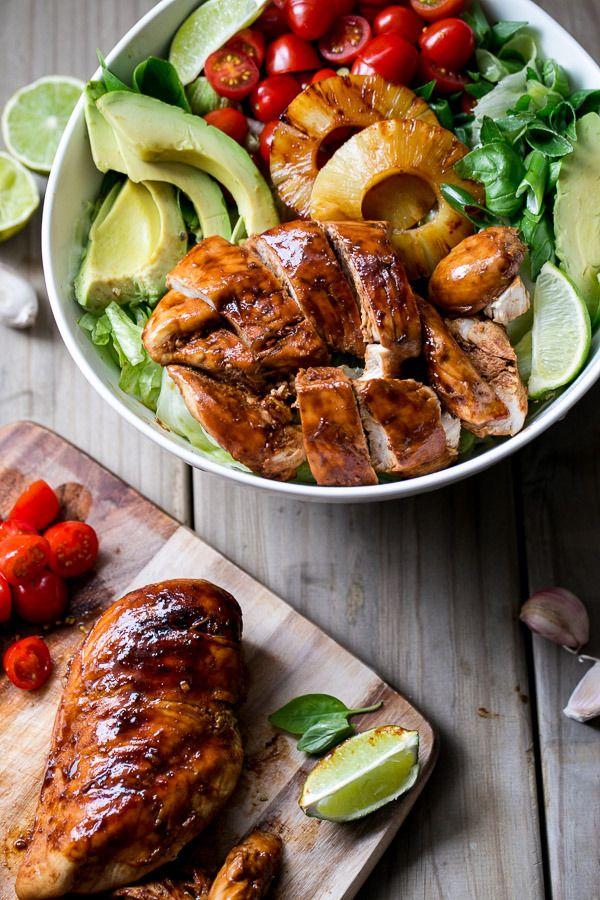 Salat Rezept für die Gartenparty: Gegrilltes Hühnchen mit Knoblauch und Limetten *** Garlic and Lime BBQ Chicken Salad