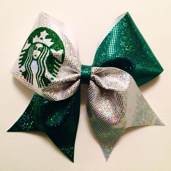 Starbucks Cheer Bow by cheerbowsandarrows on Etsy, $15.00 @Katlyn McCary we need to get this for Marcie!!!