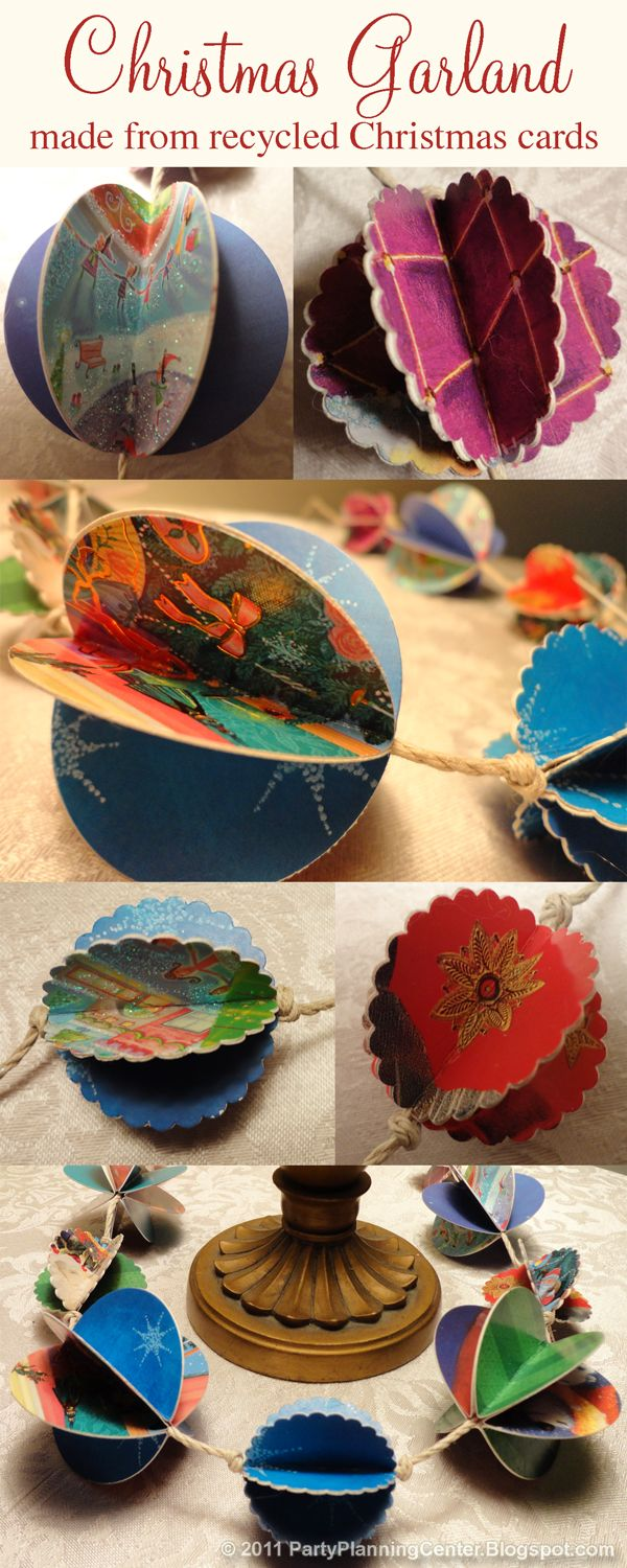 Party Planning Center: How to Make Recycled Paper Christmas Decorations  I would make this for all the other holidays too great way to recycle sentimental cards.