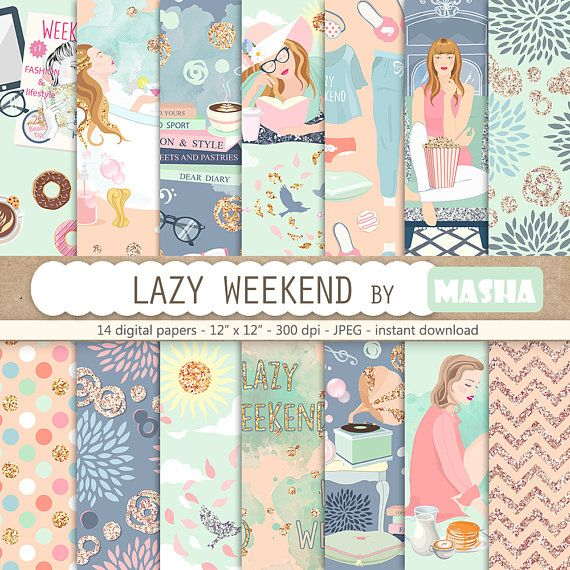 Weekend digital paper ''LAZY WEEKEND relaxing #lazy #weekend #digital #paper #seamless #pattern #bathtub #girl #glitter #chevron #polkdots #blue #pastel #reading #etsy #shop #masha #studio #clipart #mytime #vacation