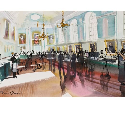 Print 3 – Opening of the Legal Year, King's Inns - The Honorable Society of King's Inns. In late 2014, King's Inns commissioned a renowned Irish based artist, John Short, to do a new King's Inns print series. Every print sold will be personally signed and numbered by the artist and hand embossed with the historic '1541' bronze seal of King's Inns. Dimensions for each print: 41.5inches by 21inches.