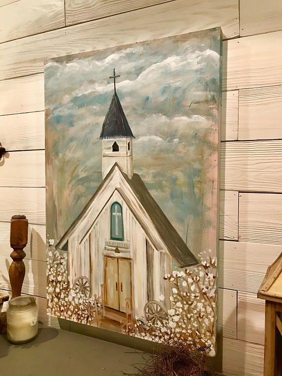 """This is an original painting """"Church in a Cotton Field"""", hand-painted by Kelly Kaye Davidson. DESCRIPTION 'Church in a Cotton Field'' is 24x36 in. It is painted on a hand crafted sturdy wooden canvas. This is ideal indoors but, since it is a wood canvas it can hang on a covered porch"""