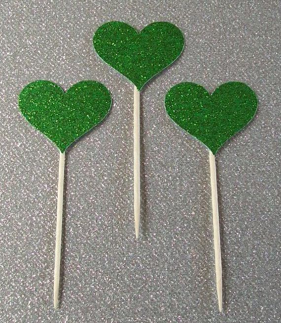 12 Small Cupcake Toppers Sparkling GREEN HEARTS by DottiesWeddings, $1.65