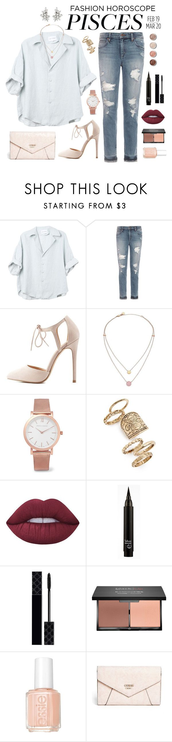 """""""Pisces"""" by kira-mckee on Polyvore featuring Joe's Jeans, Charlotte Russe, Michael Kors, Larsson & Jennings, Topshop, Terre Mère, Lime Crime, Gucci, Essie and GUESS"""