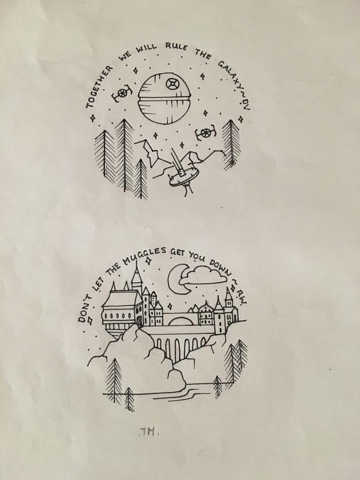 Harry Potter and Star Wars circle drawing art