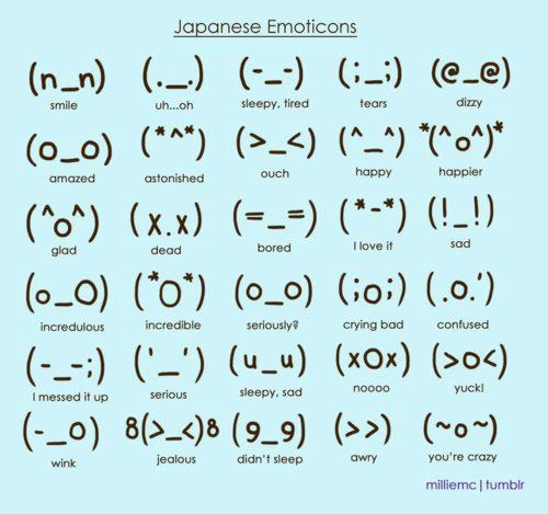 Japanese emoticons on http://japaneseemoticons.net/happy-emoticons/ this is a cool website! σ(≧ε≦o) ☆*・゜゚・*\(^O^)/*・゜゚・*☆
