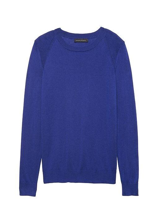 c3fcb94025d Banana Republic Womens Silk Cotton Crew-Neck Sweater Royal Blue ...