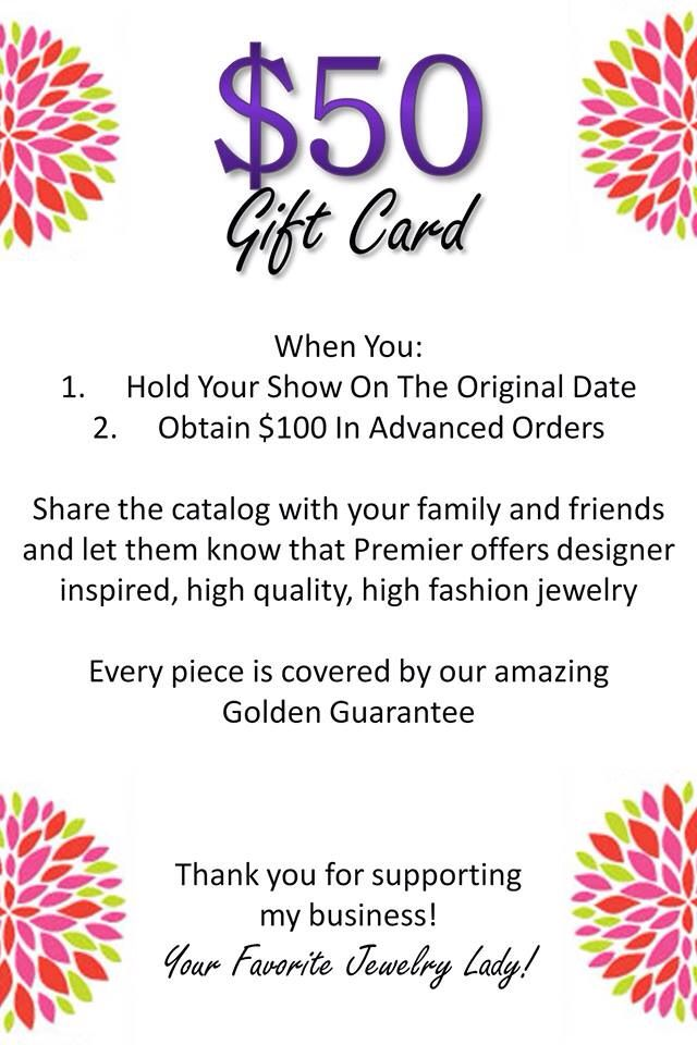 5000 gift card in free jewelry ask me how premier for Premier designs jewelry business cards
