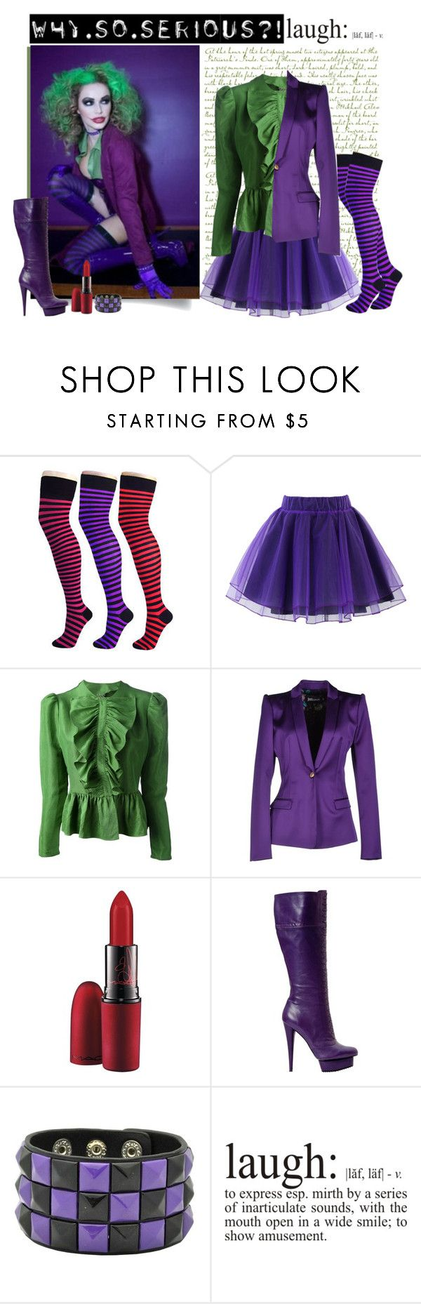 """joker costume"" by divacrafts ❤ liked on Polyvore featuring Pamela Mann, Chicwish, Labour of Love, Just Cavalli, MAC Cosmetics and Original"