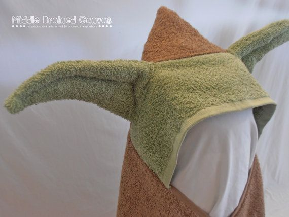 Yoda Inspired Hooded Bath Towel by MiddleBrainedCanvas on Etsy.  AA