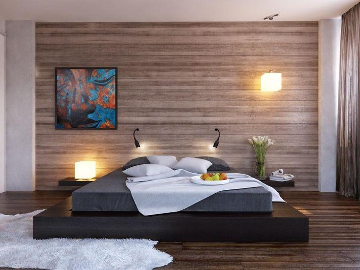 ミニマリストのベッドルームデザインのアイデアブラックプラットフォームベッド木製クラッド寝室の壁