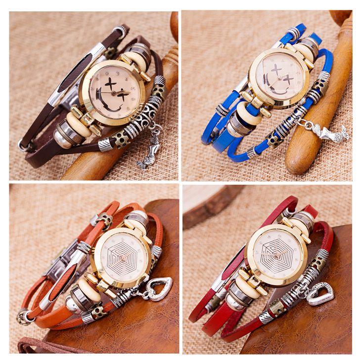 2017 New Genuine Leather Watch Women Triple Bracelet Wristwatch Italian Style Fashion Ladies Smile Clock Reloj Para Dama LZ2237 #Affiliate