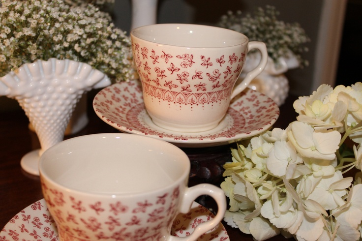 Provence by English Ironstone cup and saucer set (4 available), for rent for $2 from southernvintagegeorgia.com (replacement value 8 each set): Southernvintagegeorgia Com, Vintage Teacups, Equisit Felicity, Saucer Sets, Southern Vintage, English Ironstone, Ironstone Cups