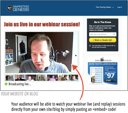 With WebinarJam people stay on your own site. Simply, paste an EMBED code, just as if it was a YouTube video, and your audience will be able to watch your live session directly from your site!