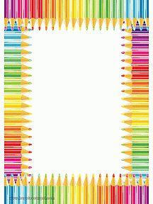 Papier à lettre à imprimer, cadre en crayons de couleurs
