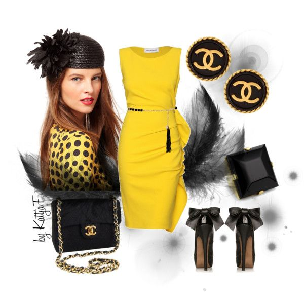 """""""Black & yellow and vintage Chanel earrings"""" by kattjaf on Polyvore"""