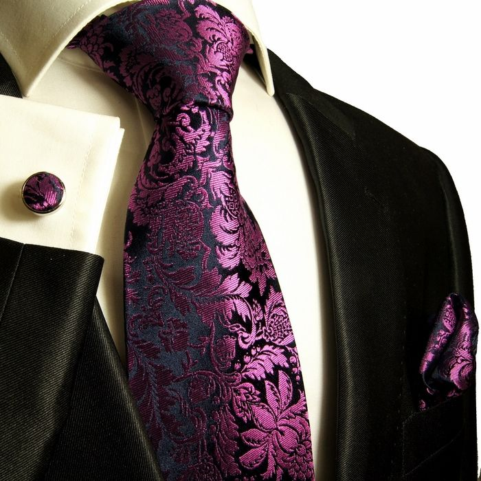 Paul Malone Silk Tie Set - Purple Floral Pattern (688CH)