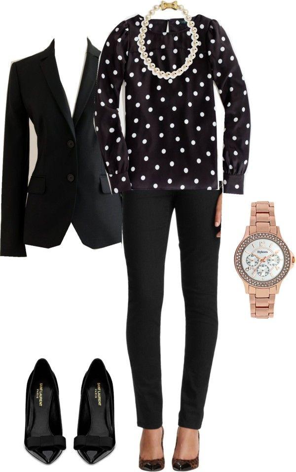 black pants, white/black polka-dot blouse, black blazer, black flats, and pink watch w pearl necklace