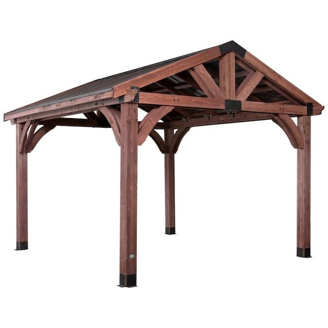 Backyard Discovery 12-ft W x 12-ft L x 10-ft 6-in Mahogany ... on Backyard Discovery Pavilion id=25663
