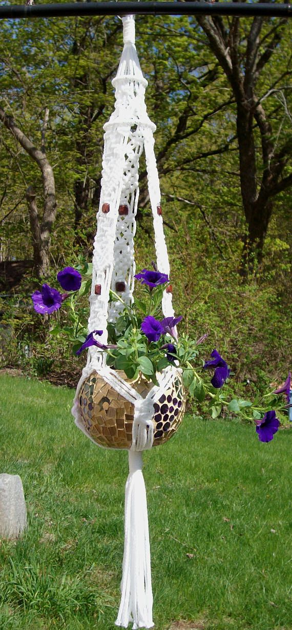 Captivating Handcrafted Unique Macrame Plant Hanger With Walnut Beads Indoor / Outdoor  Patio Flower Hanger Other Colors Available By Hamptonfoxx On Etsy