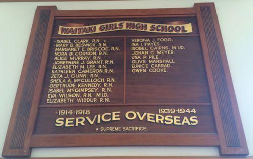Waitaki Girls' High School Roll of Honour - Historypin   Walking with an Anzac