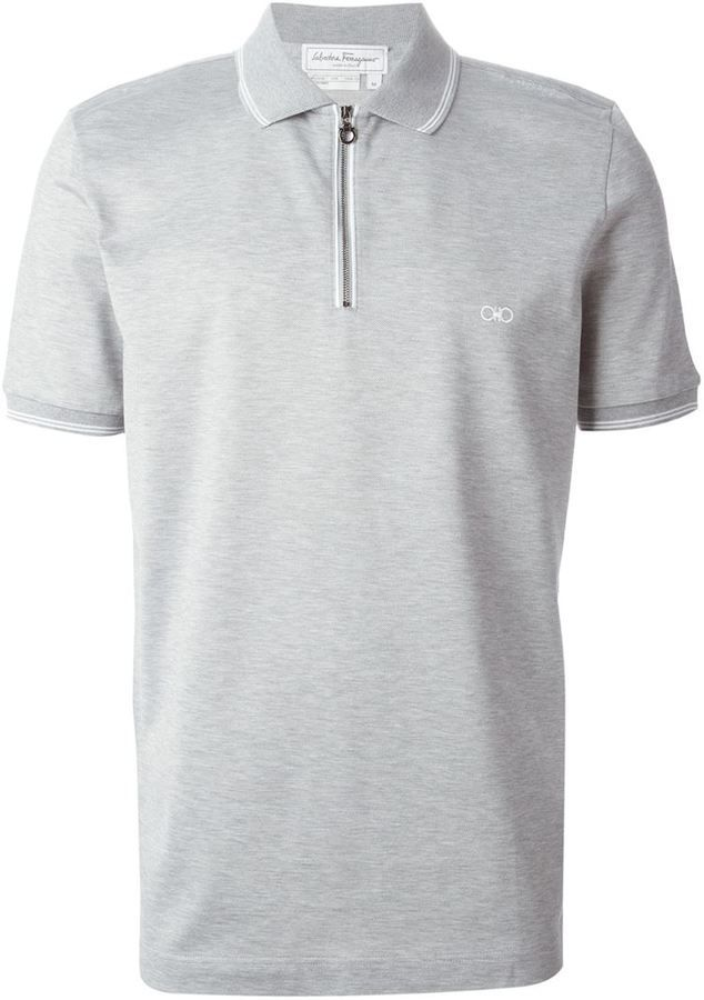 Salvatore Ferragamo zip front polo shirt