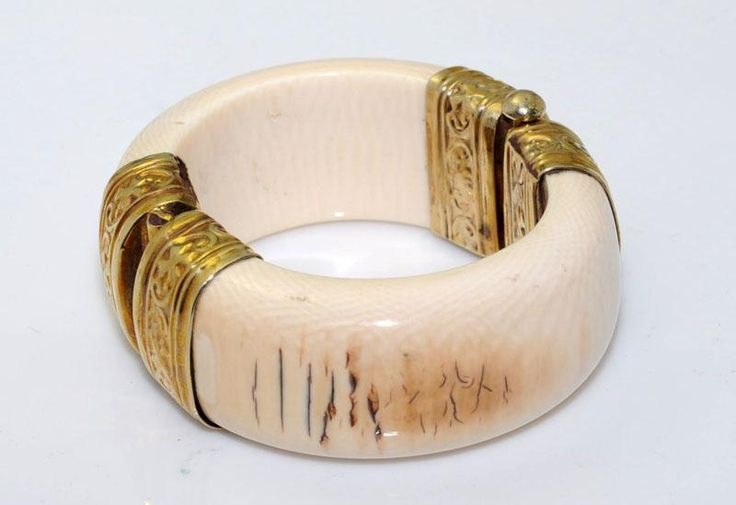 Vintage Ivory Jewelry Antique Ivory Bangle Gold Plated