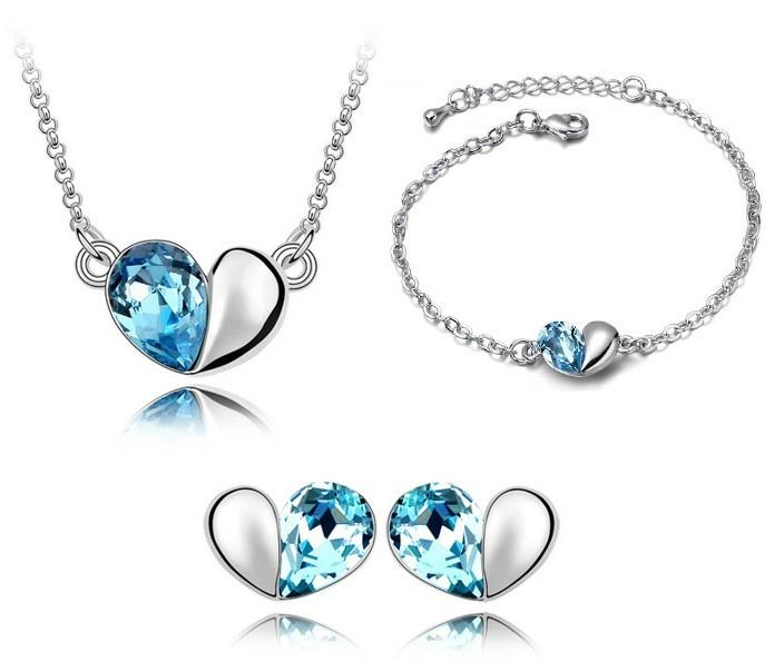 Heart to Heart-White Gold Plated Swarovski Element Jewellery Set