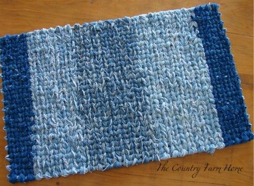 15 Ways to Reuse, Repurpose and Reimagine your Jeans strips of denim woven to a rug! I want to do this!