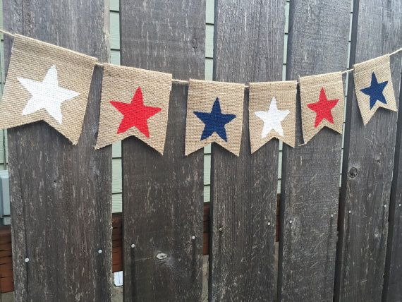 Fourth of July Banner, Fourth of July decor, Star Banner, 4th of July Burlap Banner, America Sign, Independence Day Banner, Red White Blue