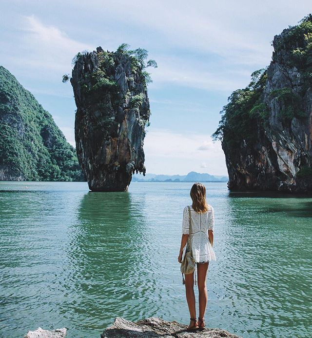 Quiet before the early morning tourist crush at Phang Nga Bay, Thailand with @melissafindley. Read more on tuulavintage.com