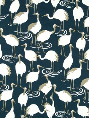 Navy white bird upholstery fabric dark blue curtains with birds animal pillow covers navy