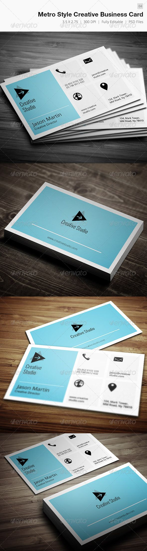Metro Style Creative Business Card  04 — Photoshop PSD #executive #creative • Available here → https://graphicriver.net/item/metro-style-creative-business-card-04/4921257?ref=pxcr