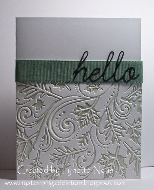 Falling Leaves Embossing Folder Card Design from Darice. Folder was brayered on the de-boss side with Sage ink.
