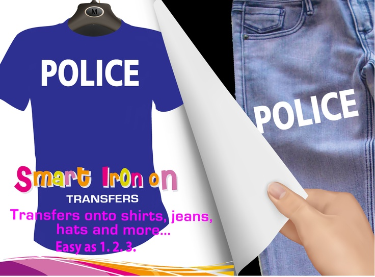 Police Iron on Transfer, $3.95 (http://www.wholesaleprinters.com.au/police-iron-on-transfer)