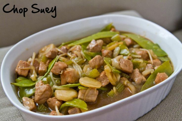 Fall welcomes chop suey, a comforting meal inspired by Chinese food recipes. American Chop Suey is made with pork and includes veggies like bean sprouts, water chestnuts, and snow peas.