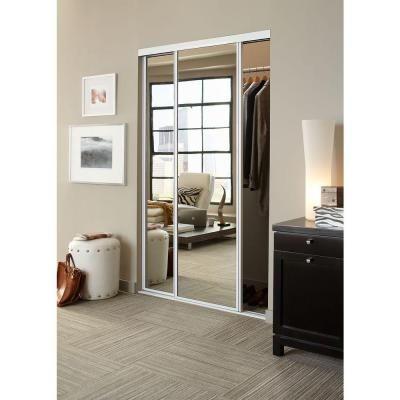Contractors Wardrobe 48 in. x 81 in. Concord Mirrored White Aluminum Interior Sliding Door-CON-4881WHN2R - The Home Depot