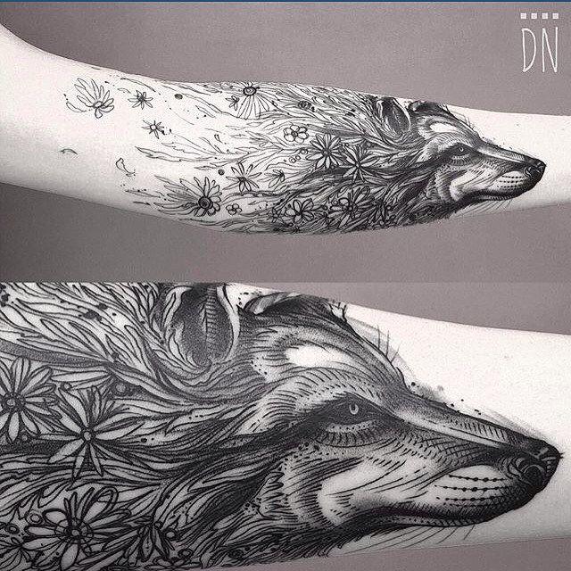 Botanical wolf for Amanda (c) @dinonemec Columbus Ohio