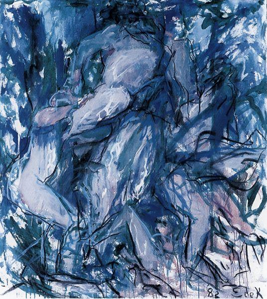 Elaine de Kooning, Bacchus #63, 1982, Acrylic and charcoal on canvas, 56-3/4 x 51″