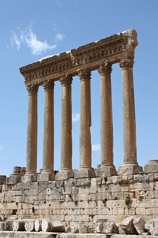 Temple of Jupiter-Baal, one of the largest  sanctuaries of the Roman Empire, Heliopolis (Baalbek Lebanon) - so named when conquered by Alexander the Great in 334 BCE.  The gods worshiped there, the triad of Jupiter, Venus and Bacchus, were grafted onto the indigenous deities of Hadad, Atargatis and a young male god of fertility. Local influences are seen in the planning and layout of the temples, which vary from the classic Roman design.