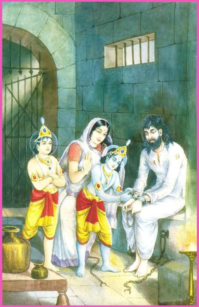 Krishna and balarama meeting parent s in captive , after killing Kansa