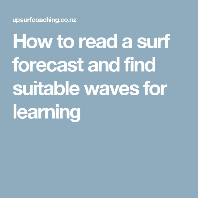 How to read a surf forecast and find suitable waves for learning