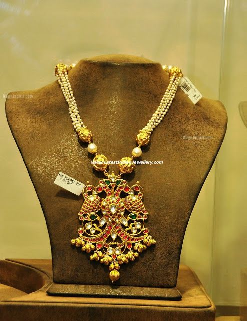 Designer Pearl Necklace with Traditional Peacock Pendant | Latest Indian Jewellery Designs