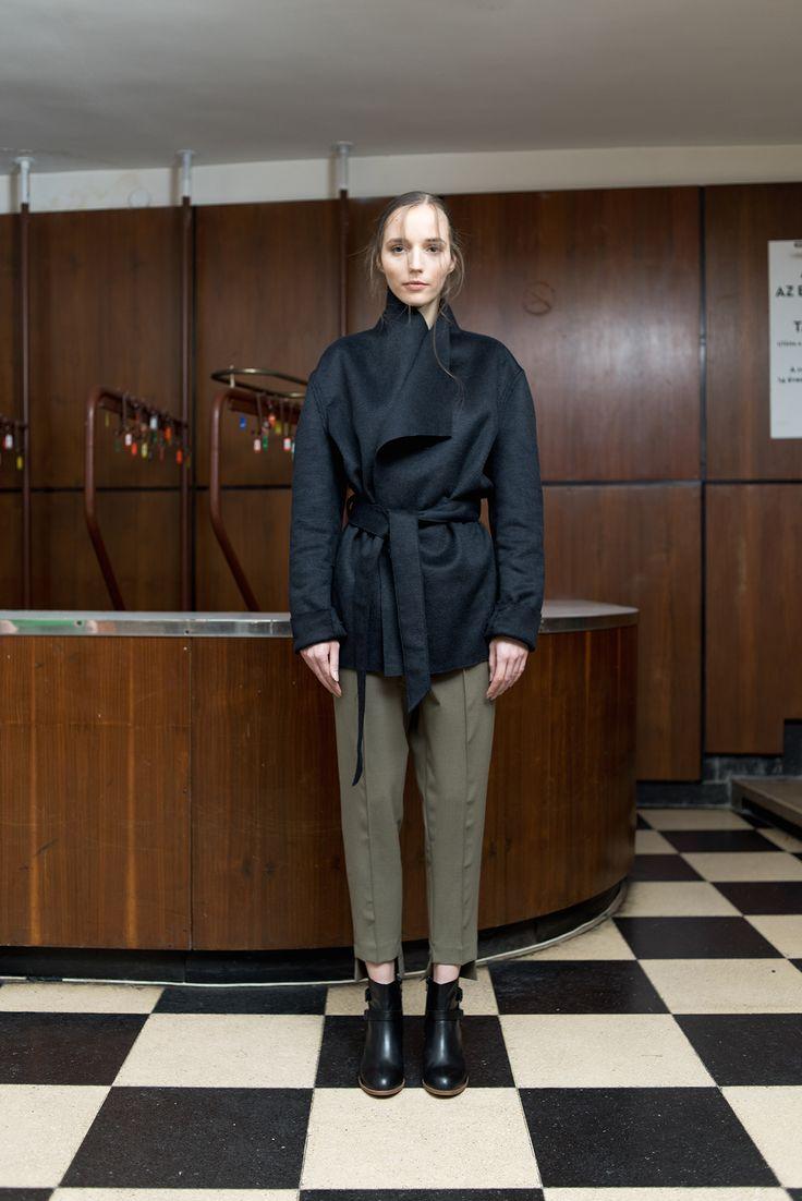 MEI KAWA | Midnight Blue Wool Robe Overcoat